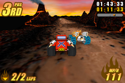 Screenshot: Burning Tires (iPhone)